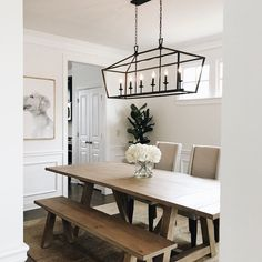 Farmhouse Kitchen Decor Ideas: Great Home Improvement Tips You Should Know! You need to have some knowledge of what to look for and expect from a home improvement job. Farmhouse Kitchen Lighting, Farmhouse Style Kitchen, Modern Farmhouse Kitchens, Home Decor Kitchen, Kitchen Lighting Over Table, Modern Farmhouse Table, Dinning Room Light Fixture, Dinning Room Lights, Diy Kitchen