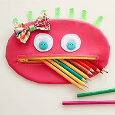 Darling zipper mouth pencil case for your favorite little girl. Boy version coming soon!