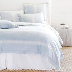 Harper Duvet Collection by Pom Pom at Home brings a soothing and serene feeling to any bedroom. Duvet covers and pillowcases are crafted from the finest linen. Pale Blue Bedrooms, Light Blue Rooms, Light Blue Bedding, Blue And White Bedding, White Duvet, Room Ideas Bedroom, Home Bedroom, Dream Bedroom, Girls Bedroom