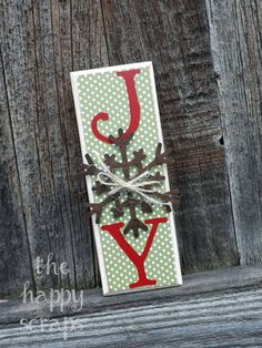 JOY block with Snowflake at www.thehappyscraps.com J & Y were cut out of red vinyl using the Doodletype Cricut cartridge. #cricut #christmas