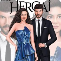 Fashion drawing illustration of actors from the soap serie hercai Ebru şahın and akin akınözü by enver sarac Fashion Illustration Dresses, Fashion Sketches, Cinema Theatre, Strapless Dress Formal, Formal Dresses, Meghan Trainor, Photos Tumblr, Turkish Actors, Demi Lovato
