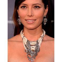 Jessica Biel wears  Tom Binns Design Madame Dumont earrings and Regal Rocker necklace..LOVE this necklace..