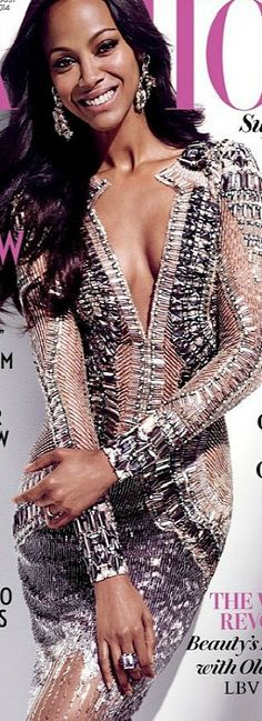 Zoe Saldana on the August 2014 cover of FASHION Magazine | LBV ♥✤