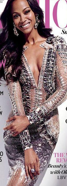 Zoe Saldana on the August 2014 cover of FASHION Magazine   LBV ♥✤
