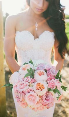 Peonies, begonias, hydrangeas, gardenias, and roses. The perfect wedding bouquet! Love the dress and bouquet! Wedding Bouquets, Wedding Gowns, Wedding Flowers, Wedding Ceremonies, Wedding Venues, Perfect Wedding, Dream Wedding, Wedding Day, Fantasy Wedding
