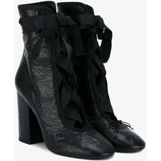 Valentino Valentino Garavani lace-up boots ($745) ❤ liked on Polyvore featuring shoes, boots, black, lace up high heel boots, short leather boots, leather boots, black bootie boots and high heel ankle boots