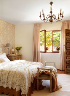 Our guest bedroom is very comfortable, I love having the windows open in here. It brings in a lovely breeze. Rural House, Diy Casa, Luxury Wallpaper, Pretty Bedroom, Vintage Shabby Chic, Living Room Decor, Diy Home Decor, Sweet Home, House Design