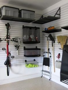 Now this is a cool way to organize your garage. It leaves tons of space to store your car too! Garage storage system by Gladiator Garageworks by francis