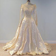 ginger-1940s 40s Wedding Dress, Ivory Cream Duchess Satin Full Length Wedding Gown, Lace Rhinestone Beadwork Plunging Bust, Full Circle Skirt