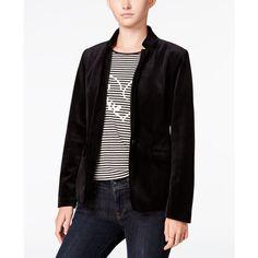 Maison Jules Velvet Blazer, (2.560 RUB) ❤ liked on Polyvore featuring outerwear, jackets, blazers, black, velvet jacket, velvet blazer, maison jules and blazer jacket