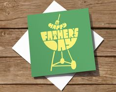 Hand-drawn typographic Fathers Day card. Simple colourful design featuring a barbecue.  Professionally litho-printed in the UK on high quality