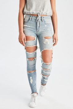 American eagle denim X super ripped leggings jeans size 10 Cool Summer Outfits, Trendy Outfits, Cute Outfits, Fashion Outfits, Formal Outfits, Cute Ripped Jeans, Ripped Jeggings, Women's Jeans, Holey Jeans