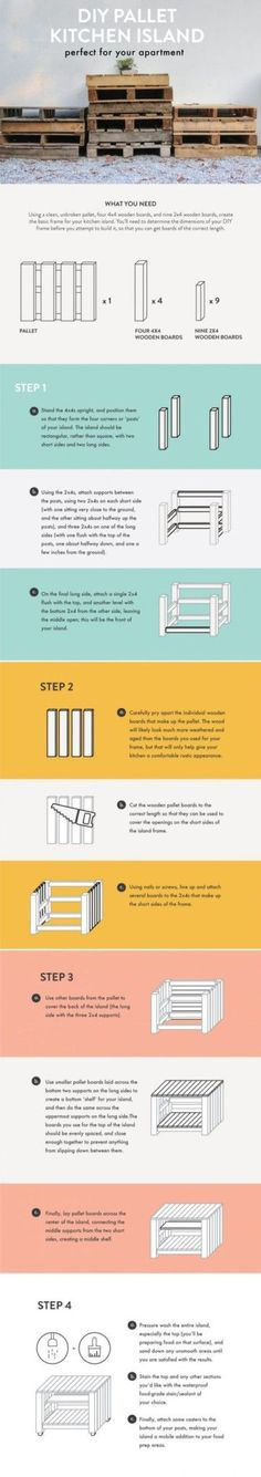 DIY Pallet Kitchen Island infographic   3 Simple and Inexpensive DIY Furniture Projects