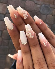💅 Nude & White Gradient Ombre Wedding Nail Art with Crystals. Decora… 💅 Nude & White Gradient Ombre Wedding Nail Art with Crystals. 3d Nail Designs, Acrylic Nail Designs, White Nail Designs, Nail Crystal Designs, Summer Acrylic Nails, Best Acrylic Nails, White Acrylic Nails With Glitter, Cute Nails, Pretty Nails