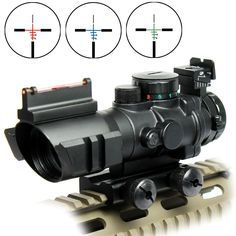 Tactical 4X32 Rifle Scope Fiber Optic Sight & Tri-illuminated BDC Range Recticle