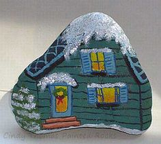 Winter Cottage Painted Rock - The Art Colony Pebble Painting, Pebble Art, Stone Painting, House Painting, Rock Painting, Painted Rocks Craft, Hand Painted Rocks, Painted Stones, Painted Houses
