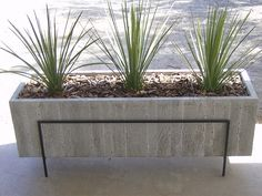 Large Wood Grain Concrete Planter