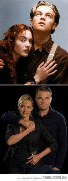 """Leo DiCaprio & Kate Winslet in a """"Titanic"""" 1997 still, then in a current photo. Leonardo DiCaprio is no longer the boy. Pretty People, Beautiful People, Amazing People, Kate Winslet And Leonardo, Leo And Kate, Titanic Movie, I Love Cinema, Actrices Hollywood, Film Serie"""