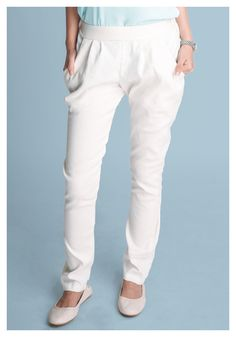 Stretchy Cigarette Pants in White – Billie and Llama ($ 21.50 USD): Retro-inspired cigarette pants || WE SHIP WORDWIDE  #cute #cuteclothes #cigarette #pants #white #retro #vintage #clothes #worldwideshipping #for #sale
