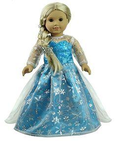 Amazon.com: CNACCASU Elsa Snowflake Print One Piece Princess Dress for 18 Inch American Girl Doll Clothes(FBA): Toys & Games