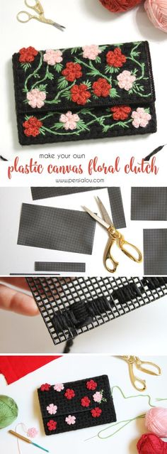 Make your own plastic canvas floral clutch adorned with cute crochet flowers. Click through for the full tutorial/pattern