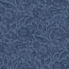 Blå botten med blommönster i mörkare blått