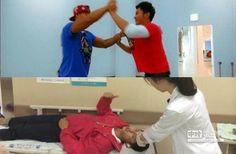 金鐘國與李晨在節目上玩得太過激烈,導致李晨後來不慎撞傷眉骨濺血送醫。(圖/翻攝鳳凰網、取自李晨微博/合成圖)