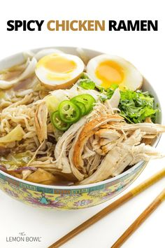 A quick, weeknight version of the traditional Japanese noodle soup, spicy chicken ramen is warm, satisfying, and oh-so-comforting. Slow Cooker Chicken Curry, Cooking Chicken To Shred, Slow Cooker Soup, Chicken And Cabbage, Chicken Soup, Chicken Recipes, Lebanese Lentil Soup, Cafeteria Food, Homemade Ramen