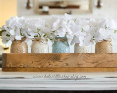 Rustic Planter Box with Painted Mason Jars. by KatesLittleShop