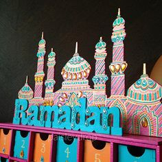Items similar to Sunset Ramadan Mosque Advent Calendar MDF Ramadan Activities, Ramadan Crafts, Activities For Kids, School Decorations, Birthday Decorations, Muslim Holidays, Countdown Calendar, Advent Calendar, Polymer Clay Dolls