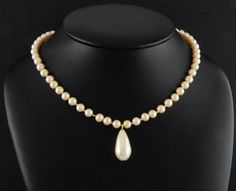 """14kt Gold Ep Ecru Faux Pearl Hand-Knotted Bridal Necklace w/ 1"""" Drop"""