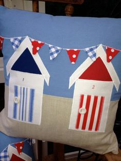 Nautical Cushion. Beach Huts by CraftyLittleDevilsUK on Etsy, £35.00