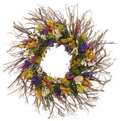 The Christmas Tree Company Spring Kaleidoscope 22 in. Dried Floral Wreath-WF9224898CTC - The Home Depot