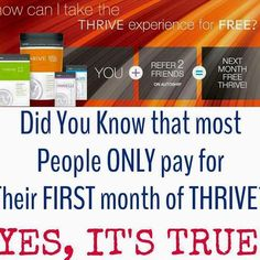 Do you want to Thrive for FREE??? I would love to help you start your Thrive Experience and Thrive for free next month!!! http://ift.tt/1Rx2gL0