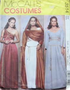McCall's Pattern 3514 GREEK AND ROMAN MISSES COSTUMES SIZES 6/8/10/12