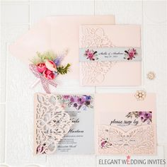 Pink laser cut wedding invitations with pink and purple floral invitation on vellum paper as low as 3 19 Laser Cut Invitation, Laser Cut Wedding Invitations, Floral Invitation, Wedding Programs, Bridal Shower Invitations, Wedding Cards, Our Wedding, Elegant Wedding Colors, Vellum Paper