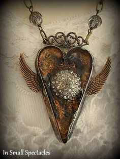 Winged Soldered Heart Bezel with Vintage by InSmallSpectacles