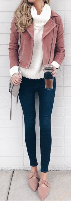 #winter #outfits brown full-zip jacket ad blue jeans