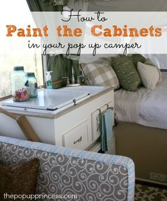Pop Up Camper Remodel: Painting the Cabinets. Tips and tricks for painting the ugly laminate cabinets in your pop up tent trailer. (Pop Up Camping Hacks) Tent Campers, Camper Trailers, Travel Trailers, Coleman Tent Trailers, Diy Solar, Camping Hacks With Kids, Camping Tips, Camping Stuff, Rv Tips