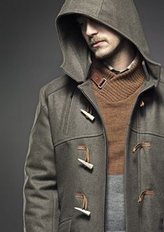 Olive Green Felted Wool Toggle Coat. Men's Fall Winter Fashion.