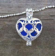 ADD diy  <3 <3 www.customweddingprintables.com  ... Cobalt Blue Sea Glass  Heart  Necklace Locket by WaveofLife, $20.00