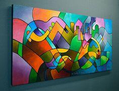 Peinture abstraite peinture de paysage géométrique peinture