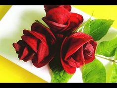 How to Make Red Rose Beet Flower | Vegetable Carving Garnish | Sushi Garnish | Food Decoration - YouTube