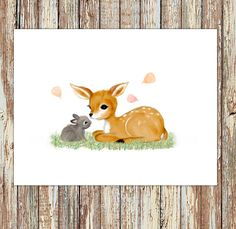 Woodland nursery, woodland nursery decor, fawn nursery, deer nursery, children's art, baby animals, kid's room decor, fawn painting