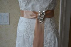 Satin sash with rhinestone Brooch , Bridal Sash,Bridsmaids sash, Flowe   GartersByMarasa - Accessories on ArtFire