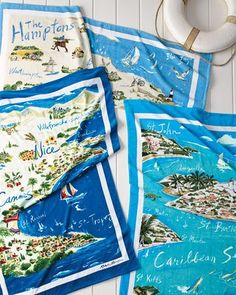 -5NK6 Ralph Lauren  The Hamptons Destination Beach Towel Riviera Destination…