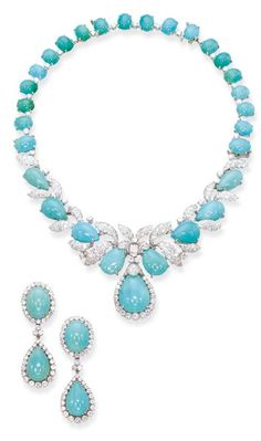 A TURQUOISE AND DIAMOND NECKLACE AND PAIR OF EAR CLIPS, BY DAVID WEBB  The foliate motif cabochon turquoise and diamond necklace also forming a pendent brooch and bracelet, with a matching pair of cluster ear clips with detachable pendants, mounted in platinum and 18k white gold, circa 1955, necklace 38.0 cm long, brooch 5.2 cm long, bracelet 17.0 cm long, ear pendants 5.2 cm long Signed Webb for David Webb