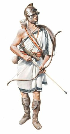 Cretan Archer, in the Army of Alexander the Great. Greek History, Roman History, Ancient History, Women's History, European History, Soldado Universal, Punic Wars, Ancient Armor, Greek Warrior
