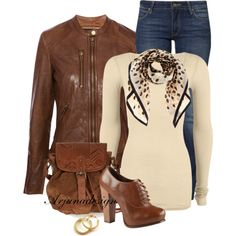"""""""Brown Leather Jacket + Scarf"""" by arjanadesign on Polyvore"""
