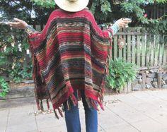 "Items similar to LONG Handknit Womens Bohemian Festival Hippie Beach Poncho Cape Shawl (""For Melanie"") on Etsy"